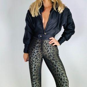 Vintage BOGNER Leopard Black Stirrup Ski Snow Suit
